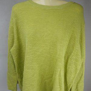 Eileen Fisher Organic Linen Cotton Slub Green Crew
